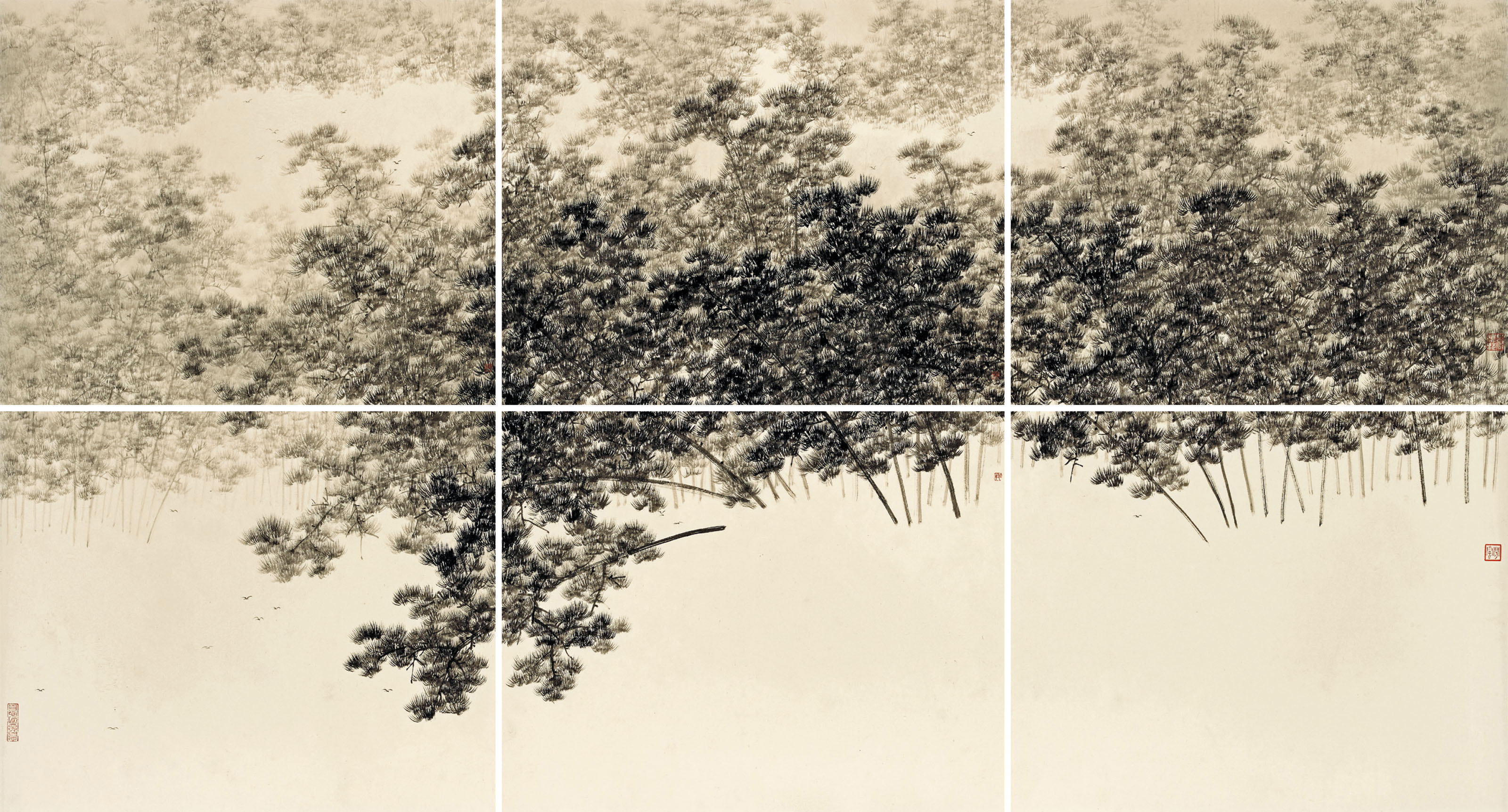Forêts de pins dans la brume, ensemble de six rouleaux, encre sur papier de Koon Wai Bong (Guan Weibang né en 1974)