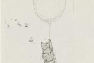 Les abeilles commencent à se méfier», chapitre 1 de Winnie-the-Pooh, 1926, crayon sur papier d'Ernest Howard Shepard