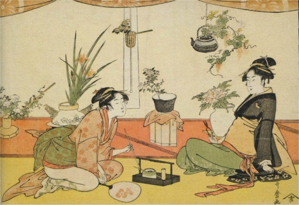 Concours d'ikebana entre Ohisa Takashima Okita Naniwaya, Kitagawa Utamaro, 1793-1794