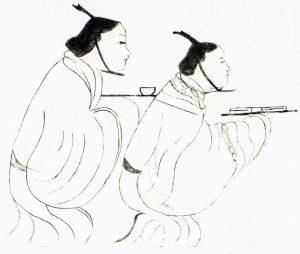 Bannière funéraire de la marquise de Dai, détail en noir et blanc