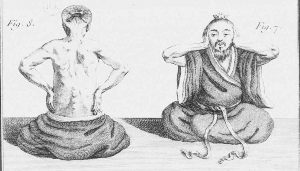 Illustration représentant des exercices de cong fu, dans les Mémoires sur les Chinois paru en 1779, Joseph Amiot