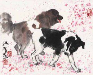 Chiens, encre et couleur sur papier de Zhang Guang (1941- )