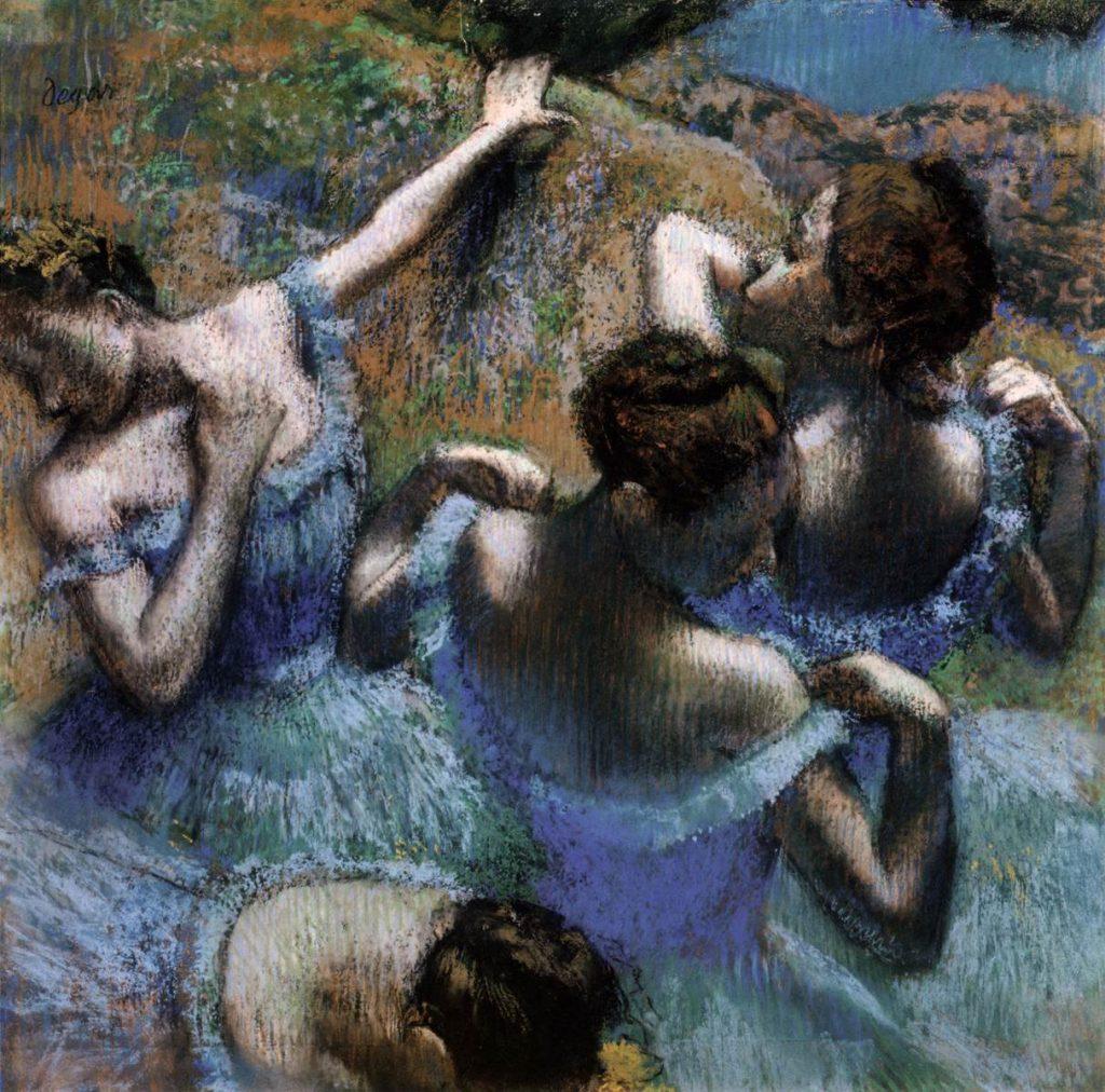 Danseuses en bleu, Pastel sur papier d'Edgar Degas, 1897