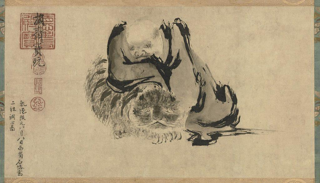 Deux patriarches purifiant leur cœur, encre sur papier, de Shike
