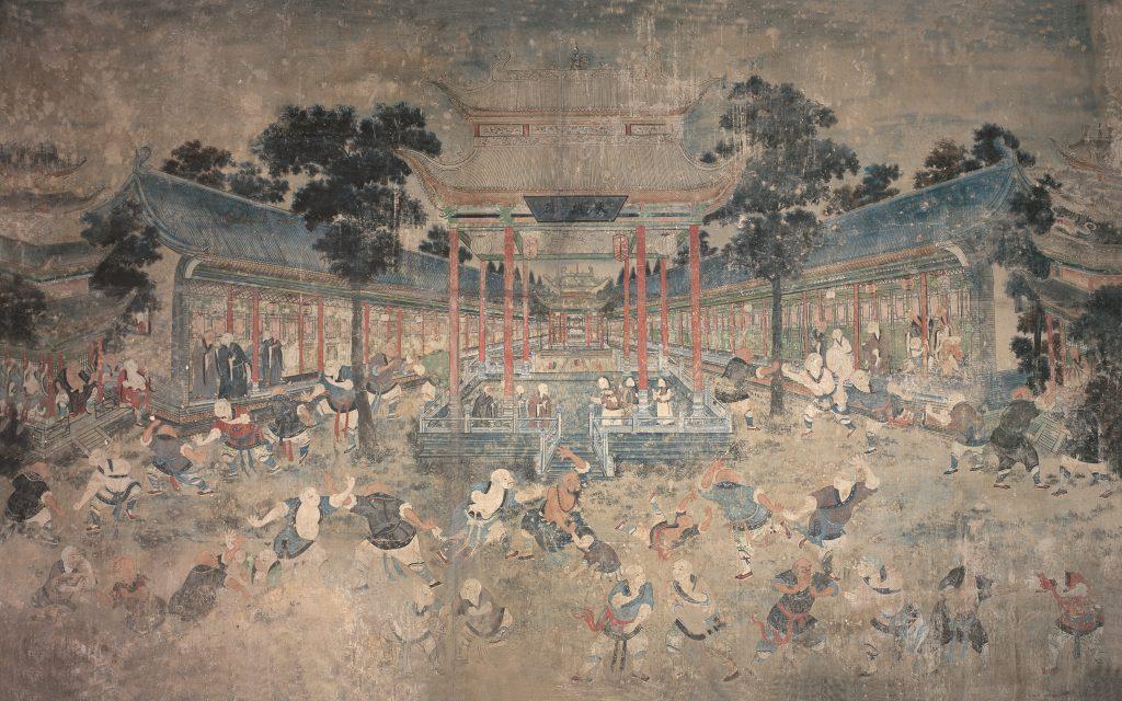 Peinture murale dans la Salle des robes blanches du Monastère Shaolin