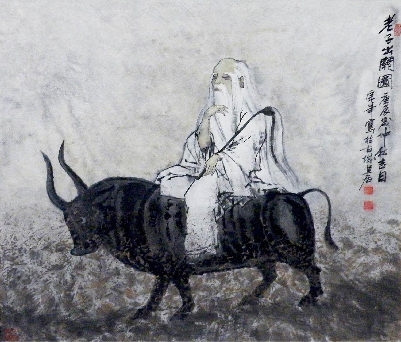Lao Tseu s'en allant vers l'Ouest monté sur un buffle, desin de Zonghua