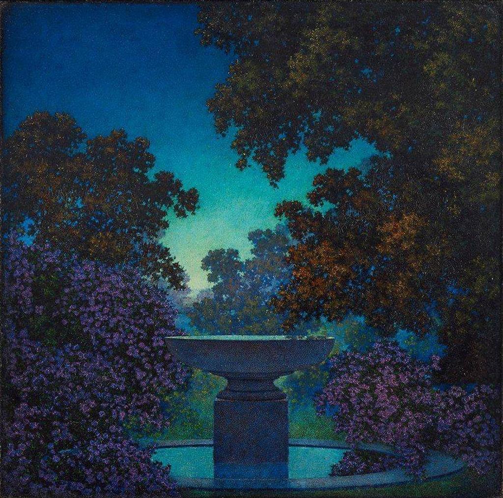 Fontaine bleue, 1925, huile sur carton de Maxfield Parrish