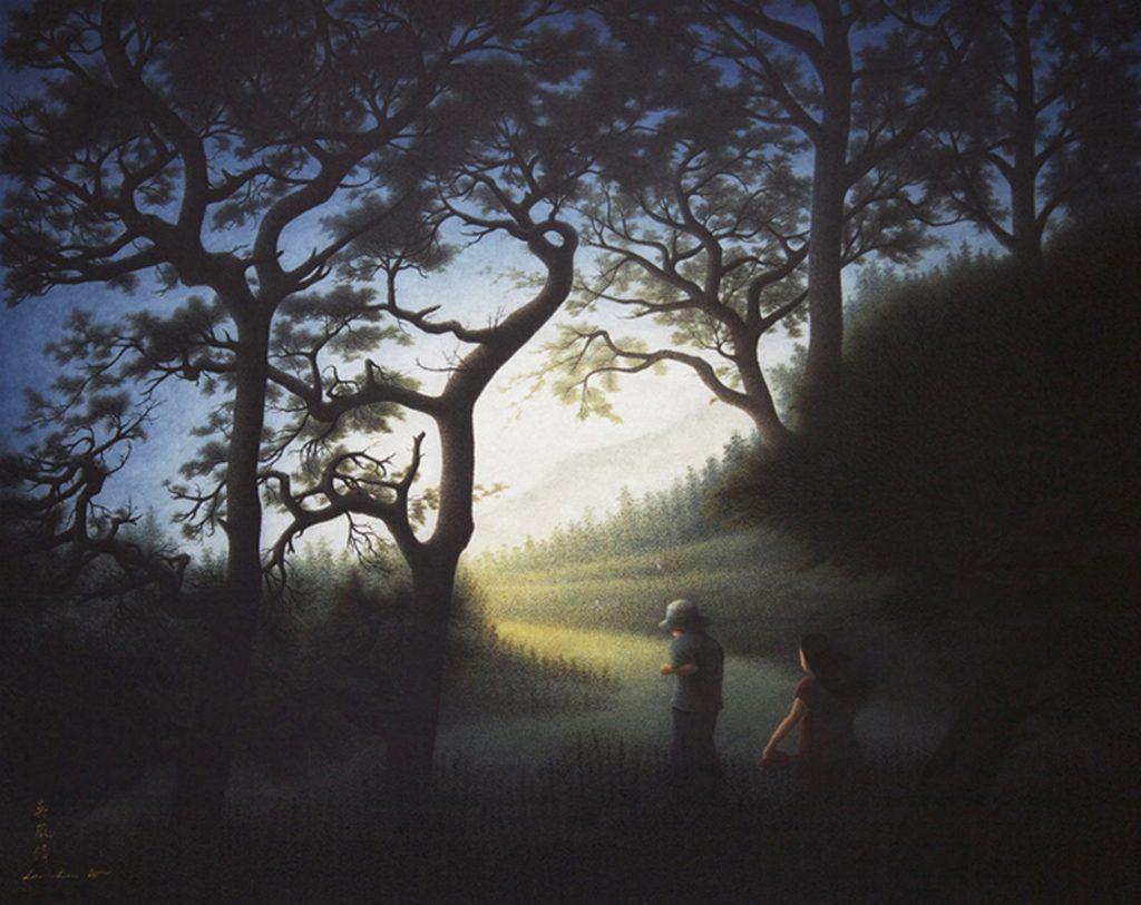 Une promenade au paradis des jardins, encre, pigments sur papier de Wu Lan-Chiann