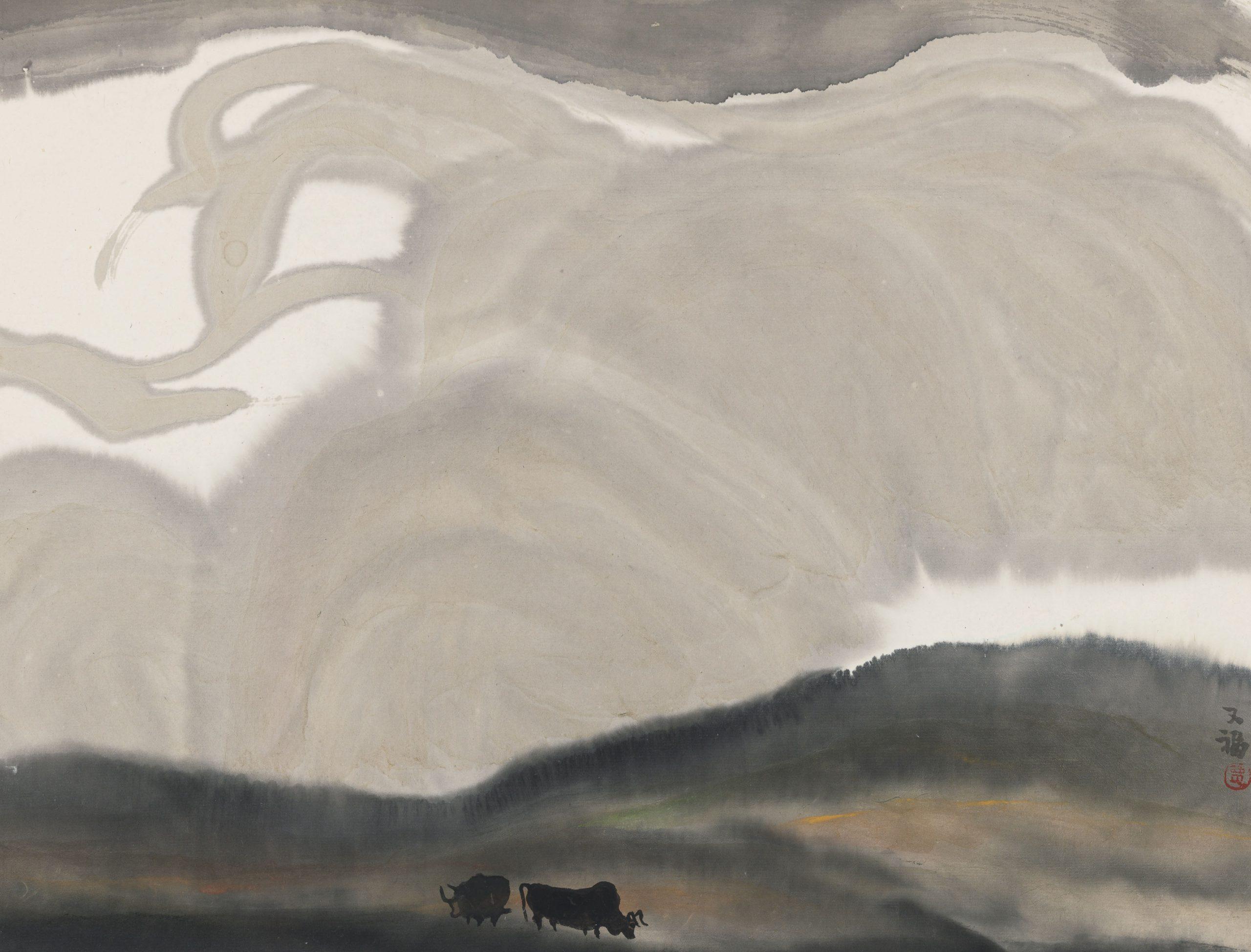 Deux taureaux en paysage, rouleau suspendu, encre et couleur sur papier, Jia Youfu (né en 1942)
