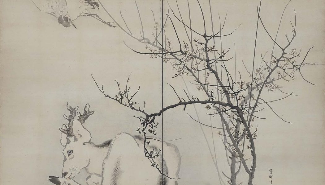 Fleurs de prunier, cigogne et cerf, encre et couleur claire sur papier, Ganku (1749-1838), Goshun (1752-1811), Azuma Tôyô (1755-1839), période Edo