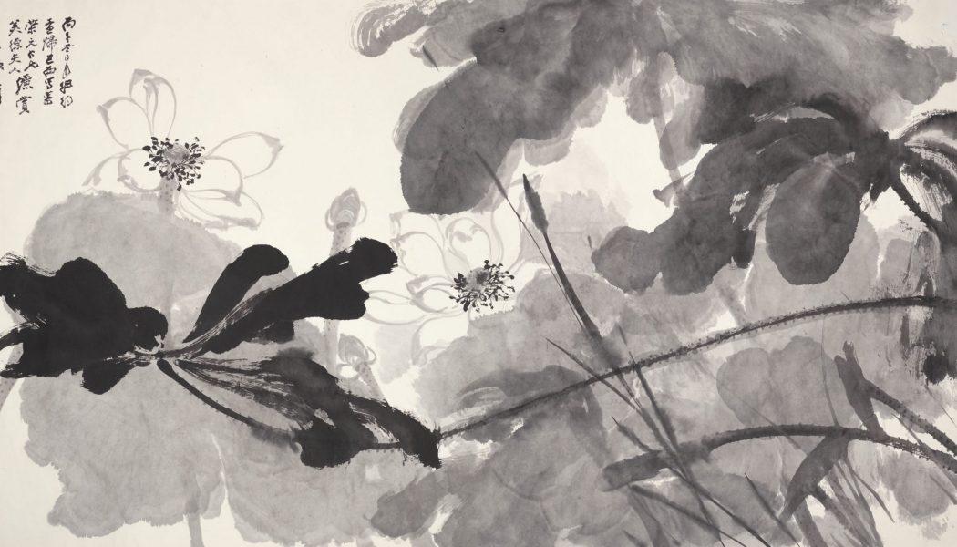 Lotus. Rouleau, encre sur papier, Zhang Daqian (1899-1983)