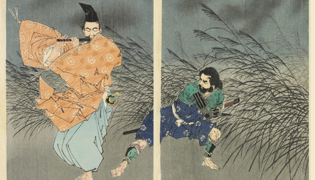 Fujiwara Yasumasa joue de la flûte au clair de lune, triptyque 2 et 3 sur bois, Tsukioka Yoshitoshi
