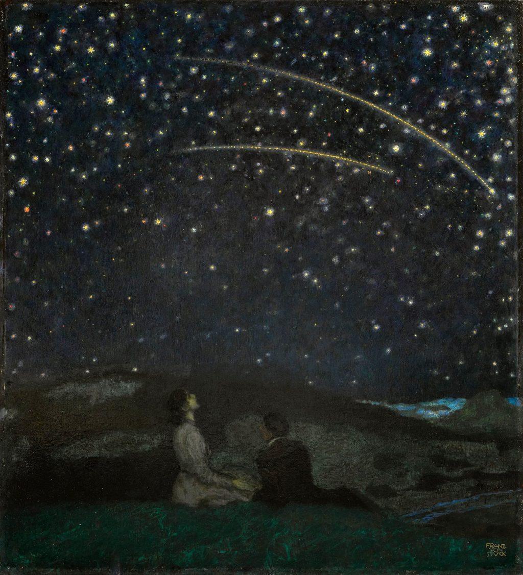 Étoiles filantes, huile sur panneau, 1912, Franz Stuck