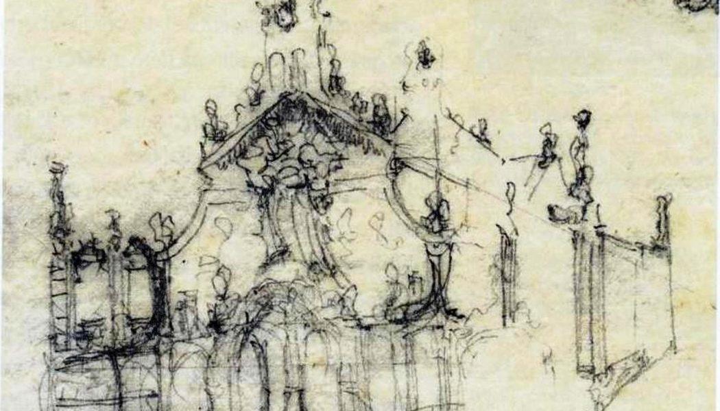 Croquis de la façade du sanctuaire de Misericòrdia conçu par Gaudí