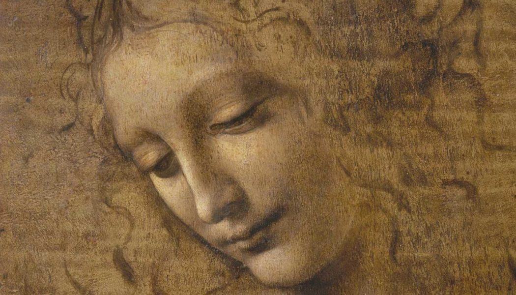 La Scapigliata, détail, terre d'ombre, ambre jaune verdi et rehauts de blanc sur bois de noyer, Léonard de Vinci