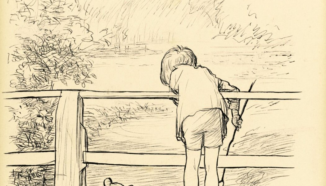 For a long time they looked at the river beneath them, original ink drawing, Shepard E.H.