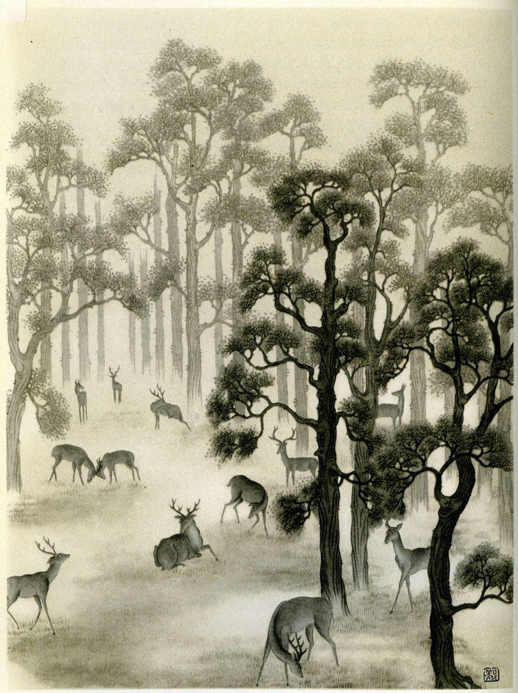 Deer in Richmond Park, 1938, encre sur papier, Chiang Yee
