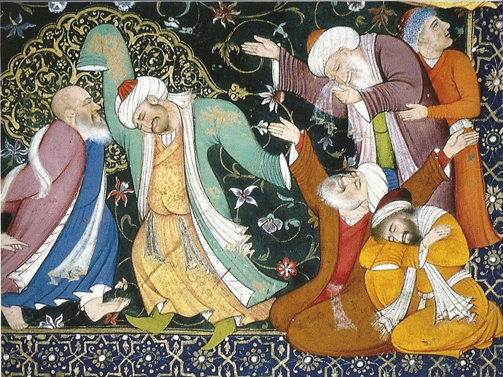 Soufis en extase., miniature moghole du XVIIe siècle
