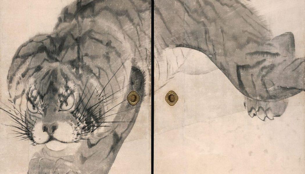 Tigre, détail, 1786, deux panneaux de droite, 1786, Nagasawa Rosetsu