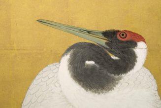 Grues,1772, paire d'écrans a six panneaux, détail, encre couleur et feuille d'or sur papier, Maruyama Okyo