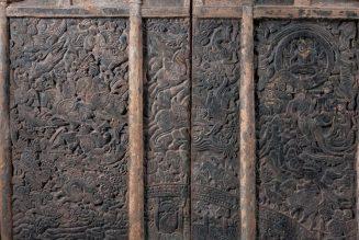 Mur Est du Sarcophage de Shi Jun et Wiyusi -Shi Jun et sa femme traversent le pont Chinvat pour être reçus au paradis, dessin.