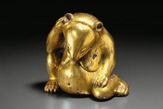 Ours assis en bronze doré, dynastie des Han de l'Ouest