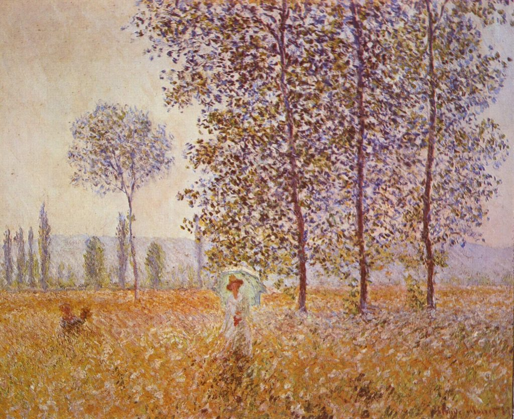 Sous les peupliers, effet de soleil, 1887, Claude Monet