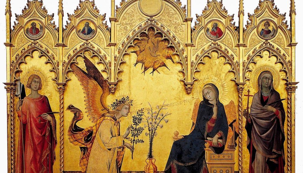 Annonciation entre les saints Ansan et Marguerite , Simone Martini et Lippo Memmi