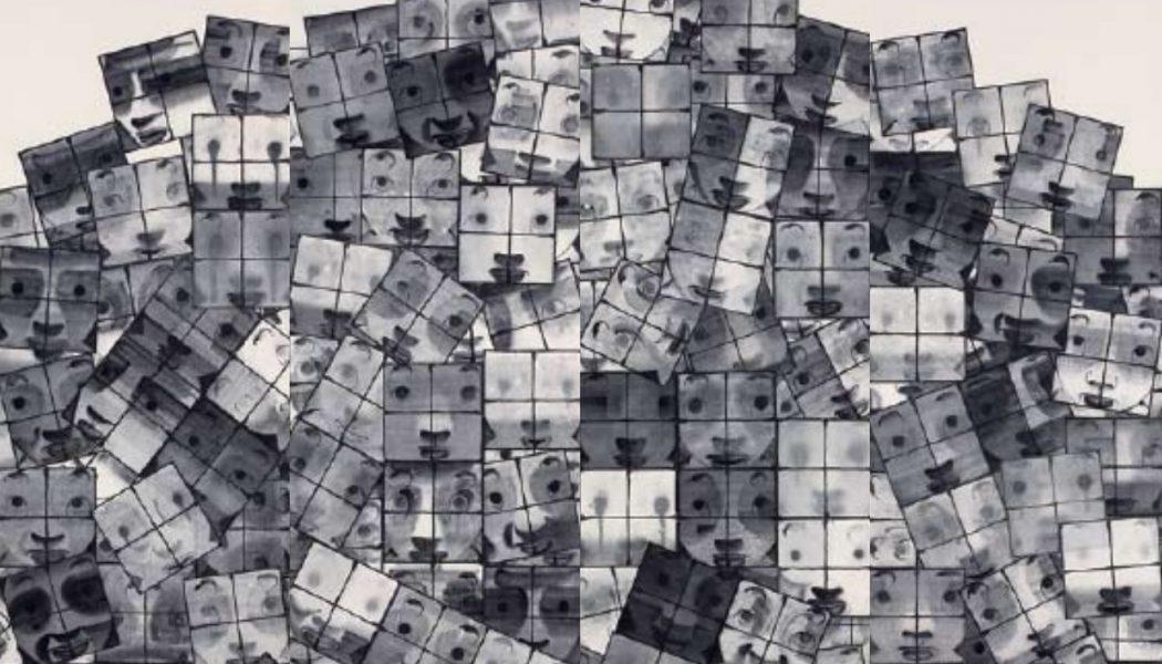 Accumulation de fenêtres, 2006, encre sur papier, quatre panneaux, Cai Guangbin