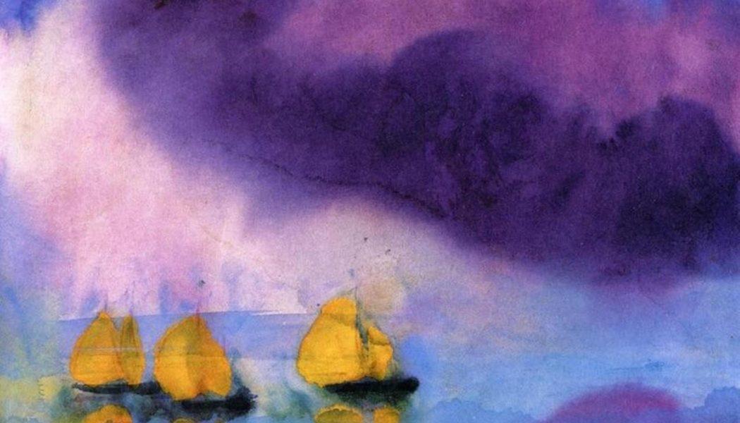 Mer avec nuages et trois bateaux, aquarelle, 1946, Emil Nolde