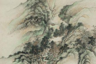Maisons dans un paysage montagneux, encre et couleur sur papier, Pu Quan