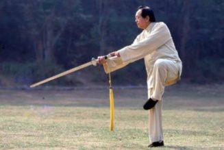 Maître Ju Hongbin pratiquant l'épée de Cheng Man Ching