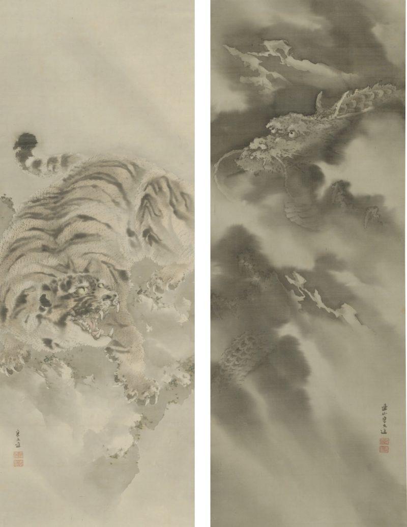 Dragon et tigre, encre et couleurs claires sur papier de Kishi Renzan (1805 - 1859)